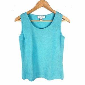 St. John Collection Top Blouse Knit Blue Size P
